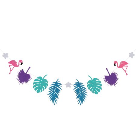 Flamingo Party Banner Non-woven Fabric Garland Banner for Birthday Party Festival Decoration (Purple) - Purple Birthday Banner
