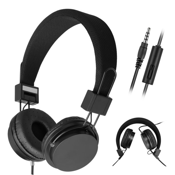 On Ear Headphones With Mic Kids Headphones Foldable Corded Headphones Wired Headsets With Microphone Volume Control For Cell Phone Tablet Pc Laptop Mp3 4 Video Game Walmart Com Walmart Com