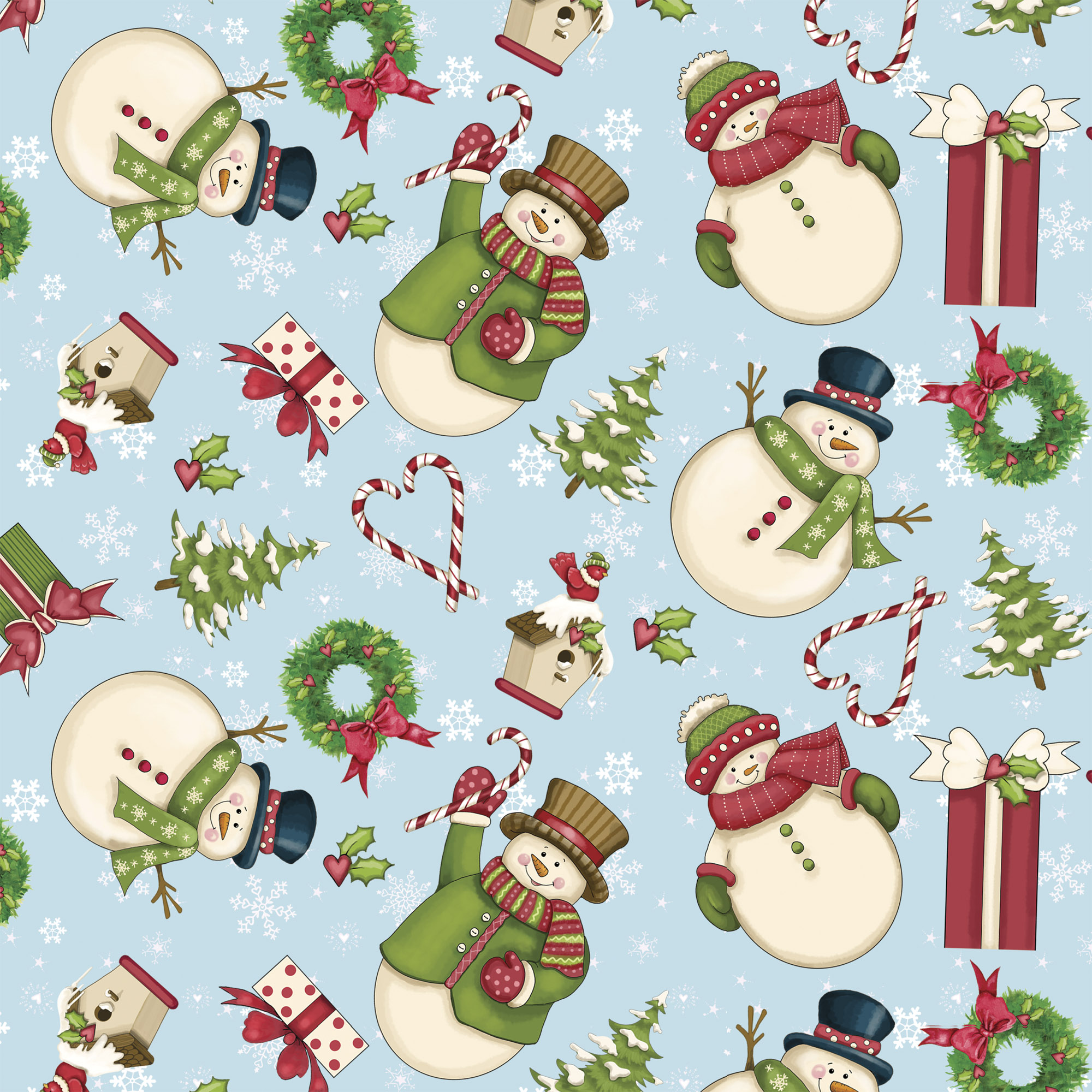"DAVID TEXTILES, INC. MERRY SNOWMAN BLUE COTTON FABRIC BY THE YARD 44"" WIDE"