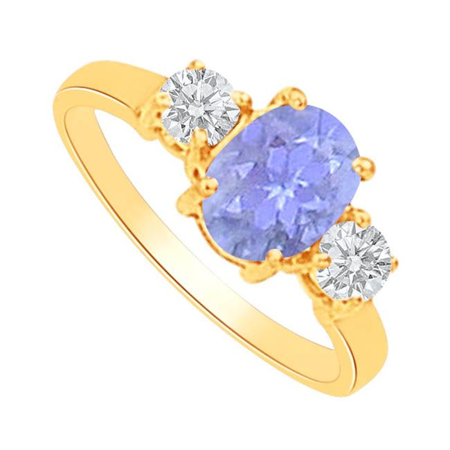 Fine Jewelry Vault UBUNR82148AGVY9X7CZTZ Oval Tanzanite CZ Three Stone Ring in 18K Gold Vermeil, 9 Stones