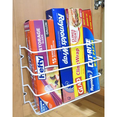 Evelots Wall Door Mount Kitchen Wrap Organizer Rack, Cabinet Space ...