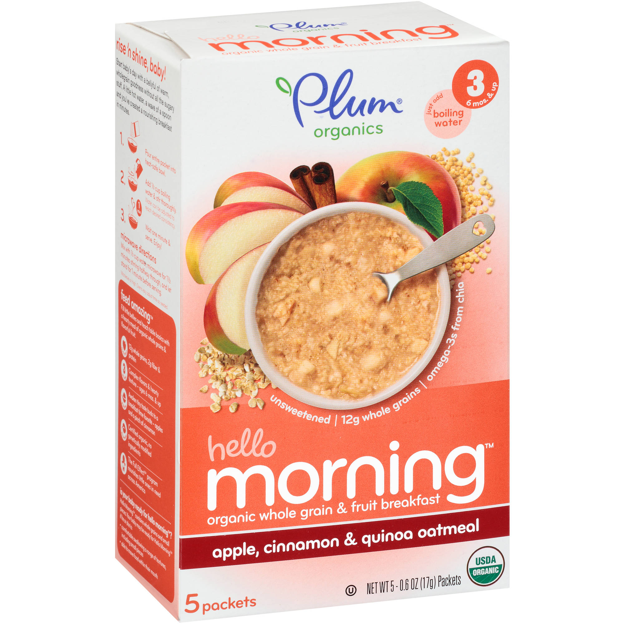 Plum Organics Hello Morning Stage 3 Apple, Cinnamon, & Quinoa Oatmeal Baby Food, 0.6 oz, 5 count (Pack of 6)