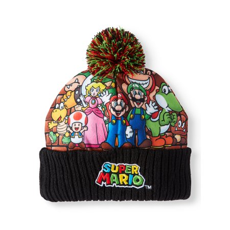 271563a4734 Super Mario Bros. Junior s Knitted Super Mario Characters Cuff Beanie with  Pom