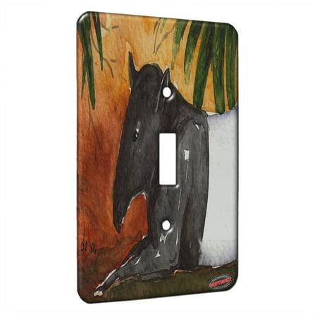 KuzmarK™ Single Gang Toggle Switch Wall Plate - Resting Tapir Wildlife Art by Denise Every