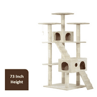 "Cat Tree Cat Scratcher for Large Cats, 73"" H, Beige"