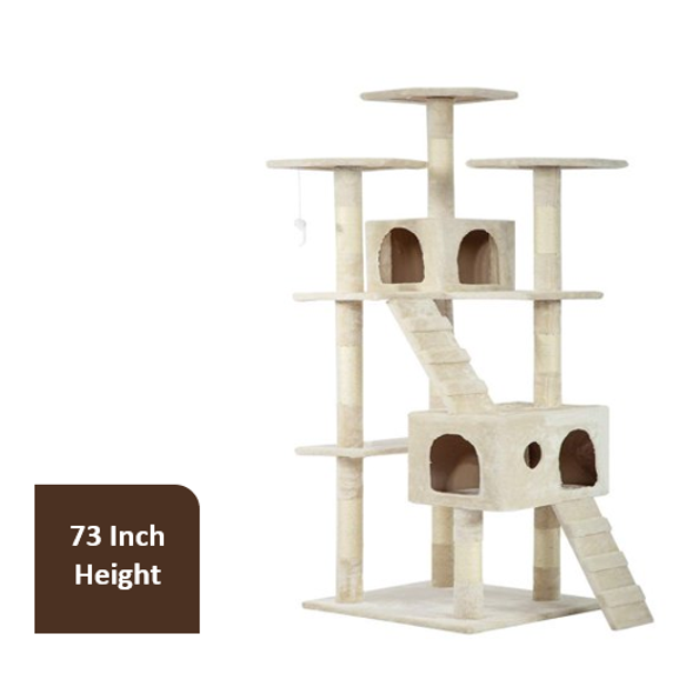 Bestpet 73 In Cat Tree Condo Scratching Post Tower Beige Walmart Com Walmart Com