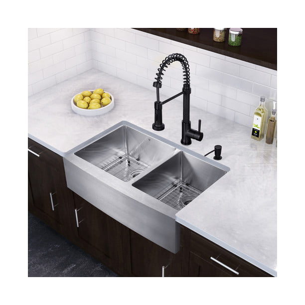 Vigo 33 Farmhouse Stainless Steel 16 Gauge Double Bowl Kitchen Sink And Edison Matte Black Pull Down Spray Kitchen Faucet Walmart Com Walmart Com