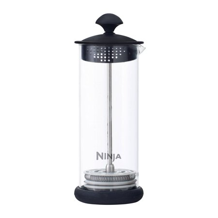 Ninja Easy BPA Free Manual Glass Hot or Cold Milk Frother for Coffee Drinks