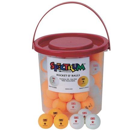 S&S Worldwide PB145 Spectrum Bucket O' Table Tennis Balls (bucket of 60) (Pack of 60), 60 one star Spectrum? table tennis balls By SS -
