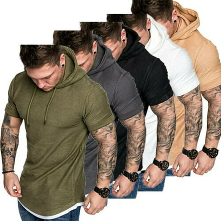2019 Mens Fit Slim Summer T-Shirt Casual Shirt Tops Clothes Hooded Muscle