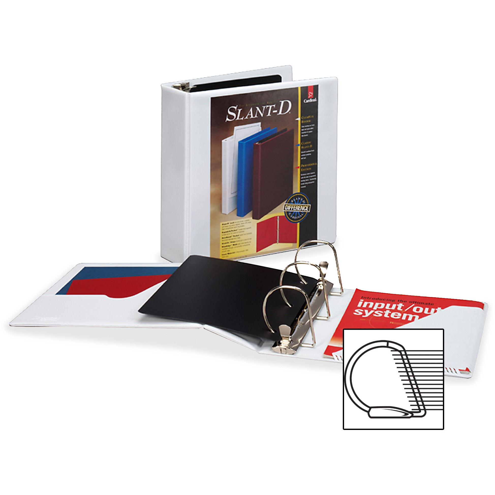 "Cardinal SuperStrength ClearVue Locking Slant-D Ring Binder, 3"" Cap, 11 x 8 1/2, White"