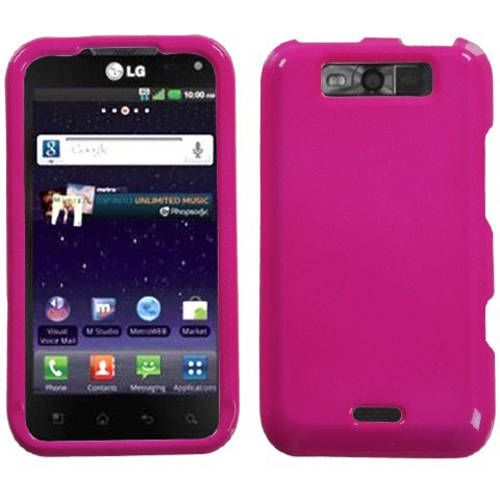LG MS840 Connect 4G MyBat Protector Case, Solid Hot Pink
