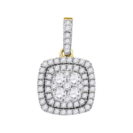 - 14kt Yellow Gold Womens Round Diamond Square Pendant 7/8 Cttw