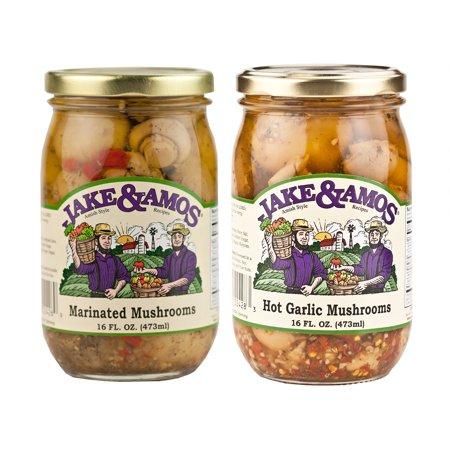 - Jake & Amos Pickled Mushroom Variety Pack 16 oz. Marinated, Hot Garlic (1 Jar of Each)