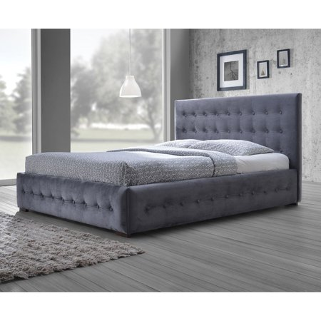 Baxton Studio Margaret Modern and Contemporary Grey Velvet Button-tufted Platform Bed, Multiple - Elite Contemporary Bed