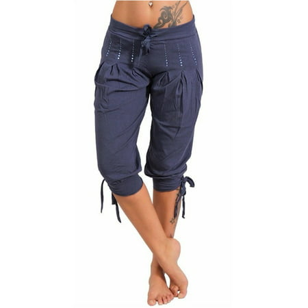 Summer Women Casual Pants Low Waist Solid Capris Low Waist Pants