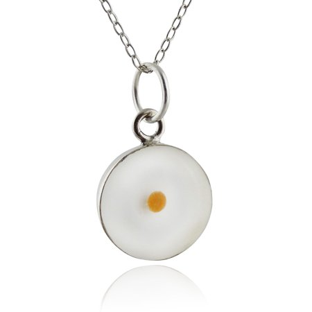Sterling Silver Mustard Seed Pendant Necklace - Clear, Round](Mustard Seed Necklace)