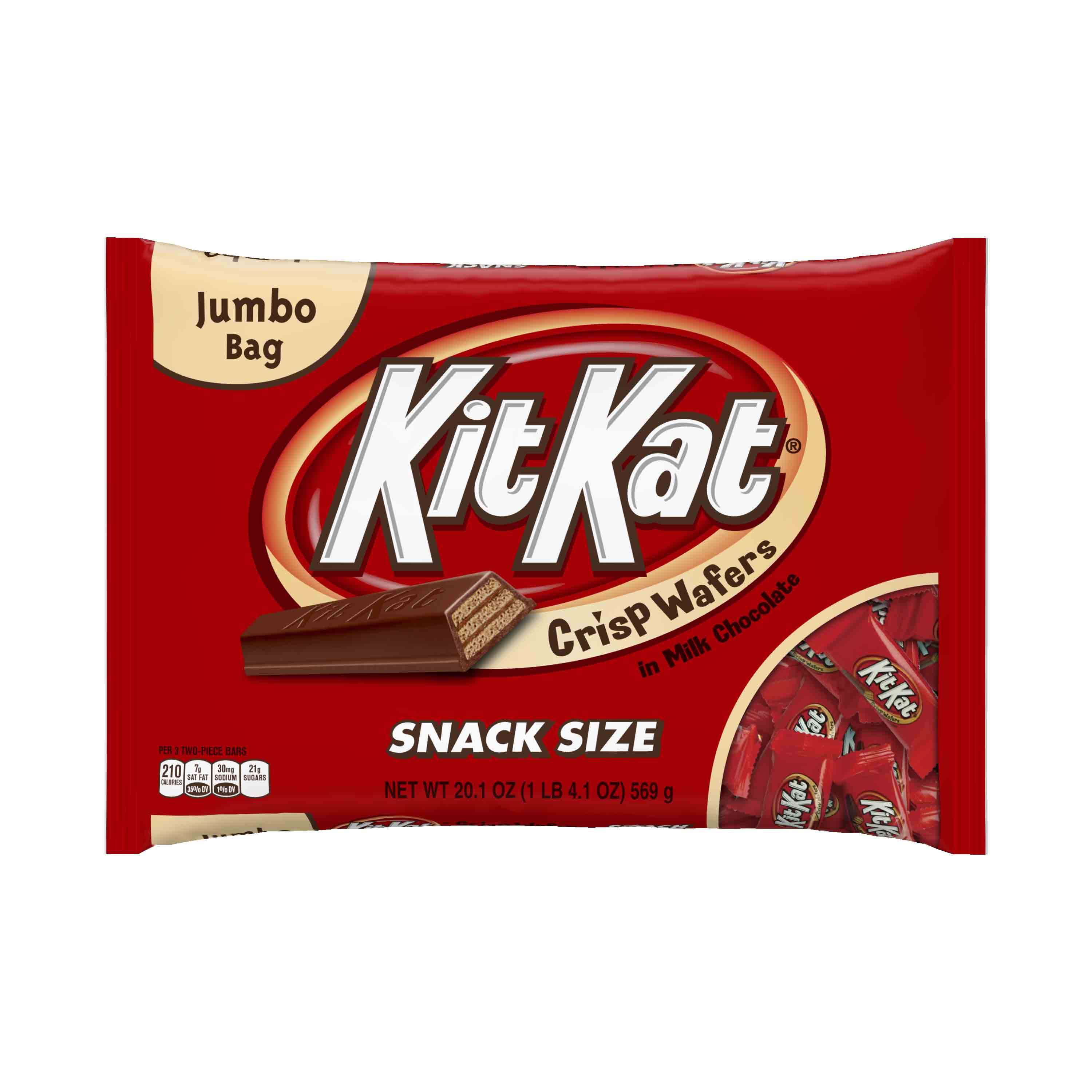 (2 Pack) Kit Kat, Crisp Wafer Milk Chocolate Candy Bars Snack Size, 20.1 Oz