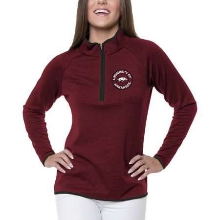 Women's Heathered Cardinal Arkansas Razorbacks Double Ring 1/4-Zip - Ring Mistress Jacket