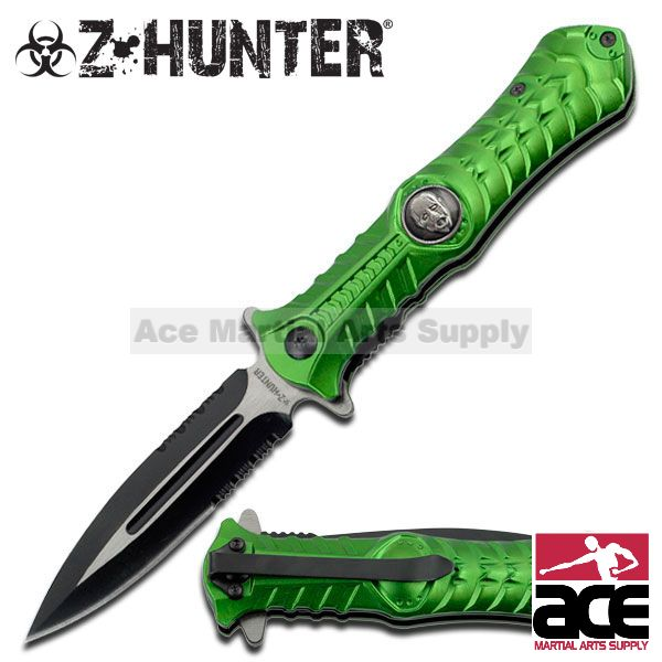 ZOMBIE HUNTER Spring Assisted TOXIC GREEN DAGGER SPEAR POINT KNIFE NEW!!!