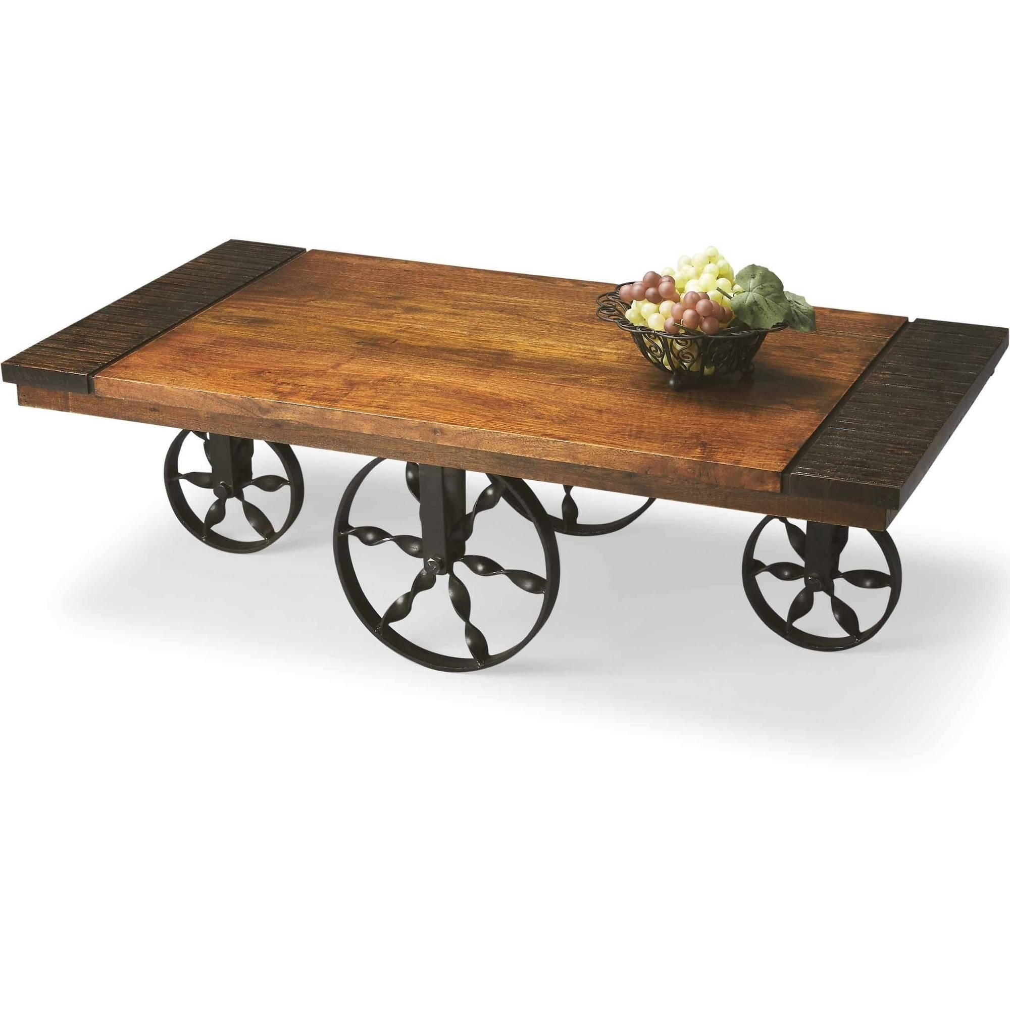 Butler Moutain Lodge Rustic Wagon Wheel Cocktail Table by Butler Specialty Company