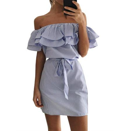 Off Shoulder Women Flared Striped Mini Dress with Belt - Off Shoulder Mini