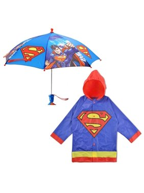 DC Comics Superman Slicker and Umbrella Rainwear Set, Little Boys, Age 2-7