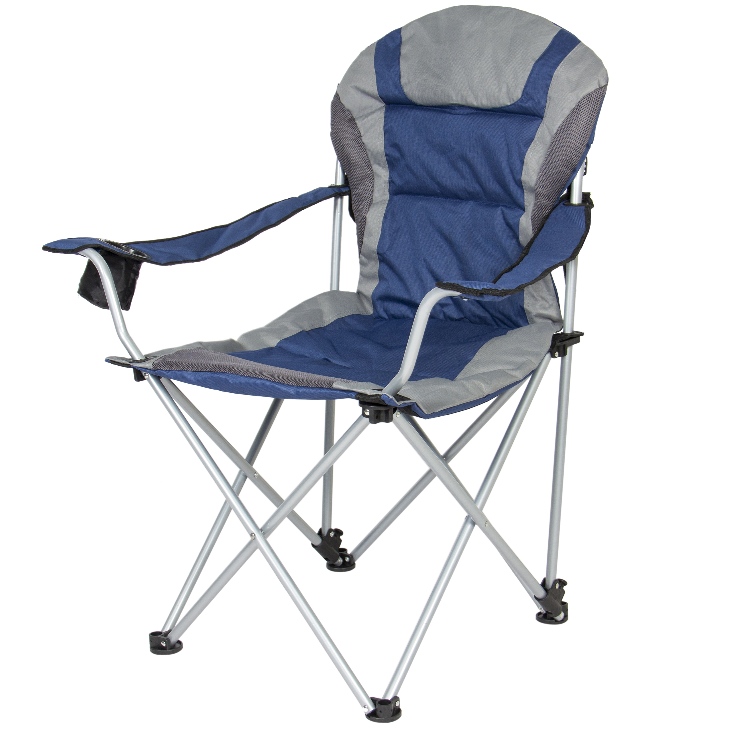 Best Choice Products Deluxe Padded Reclining Camping Fishing Beach Chair With Portable Carrying Case - Silver/Black