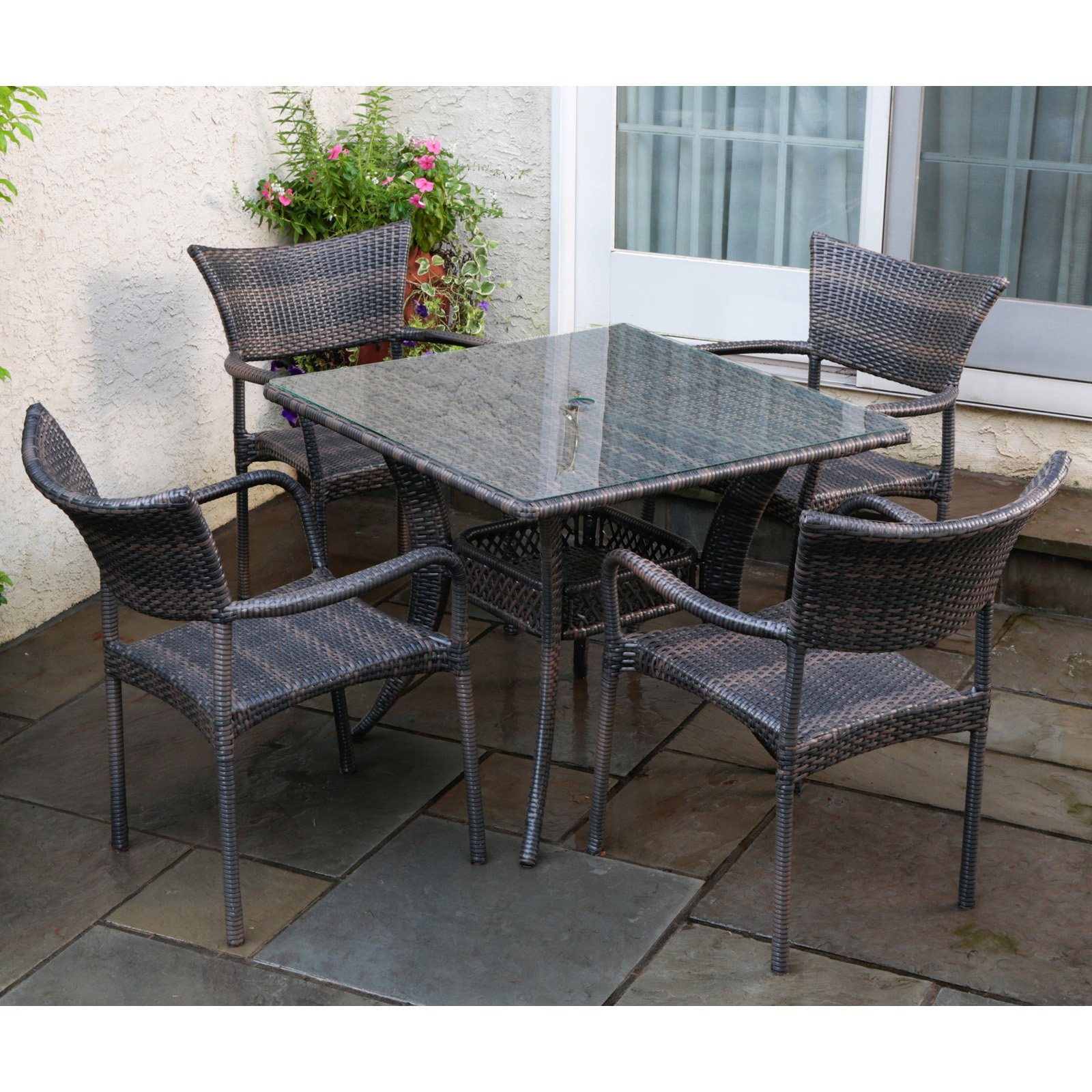 Alfresco Tutto 5 Piece Wicker Patio Dining Set - 43-1306