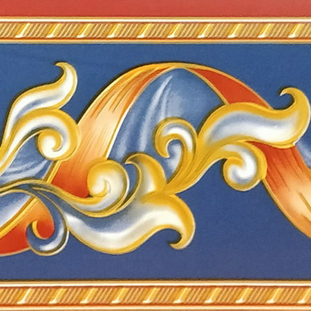 Peel and Stick Abstract Red Yellow Stripe Yellow Vines Navy Blue Wallpaper Border Retro Design, Roll 33 ft. x 4 in., Self Adhesive Stripe Wallpaper Design