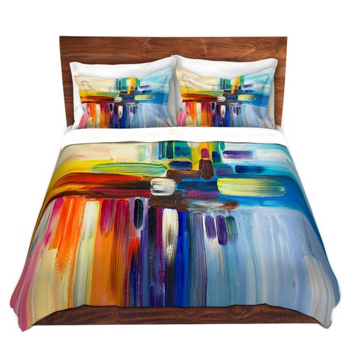 Ebern Designs Sievers Lam Fuk Tim Colorful Stripes Rainbow I Microfiber Duvet Covers