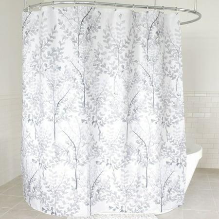 Yin Gray Floral Leaf Pattern Fabric Shower Curtain 70 X 72