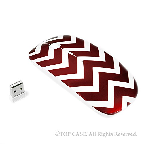TopCase Quatrefoil / Moroccan Trellis Series Red USB Optical Wireless Mouse for Macbook (pro , air) and All Laptop + TopCase Designed Chevron Mouse Pad
