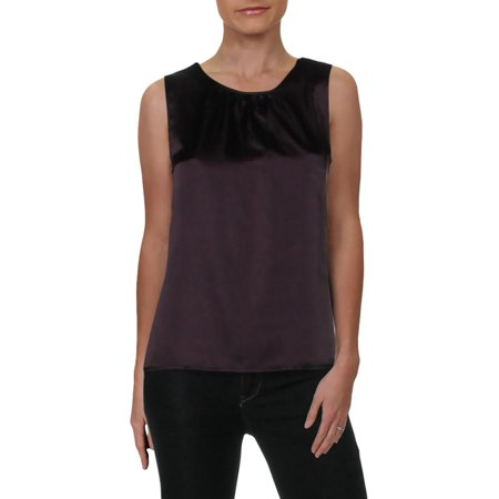 Le Suit Womens Petites Satin Sleeveless Tank Top Purple 6P (Petite Suits 6p)