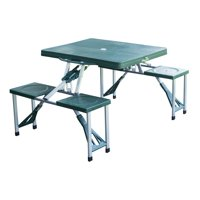 Outsunny 4 Person Plastic Portable Compact Folding Suitcase Picnic Table Set With Umbrella Hole - Green