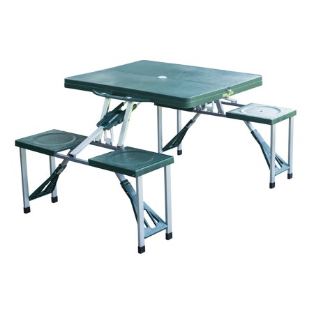 Outsunny Plastic Portable Suitcase Picnic Table, Green