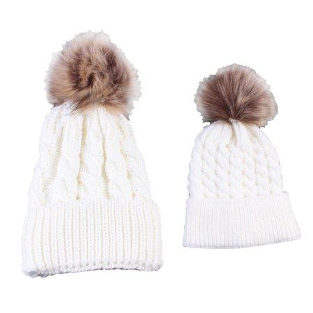 bdb8371c00b BOBORA - BOBORA Winter Family Mother+Baby Hat Toddler Baby Kids Warm Cotton Twist  Cap Boys Girls Pom Bobble Unisex Hat - Walmart.com