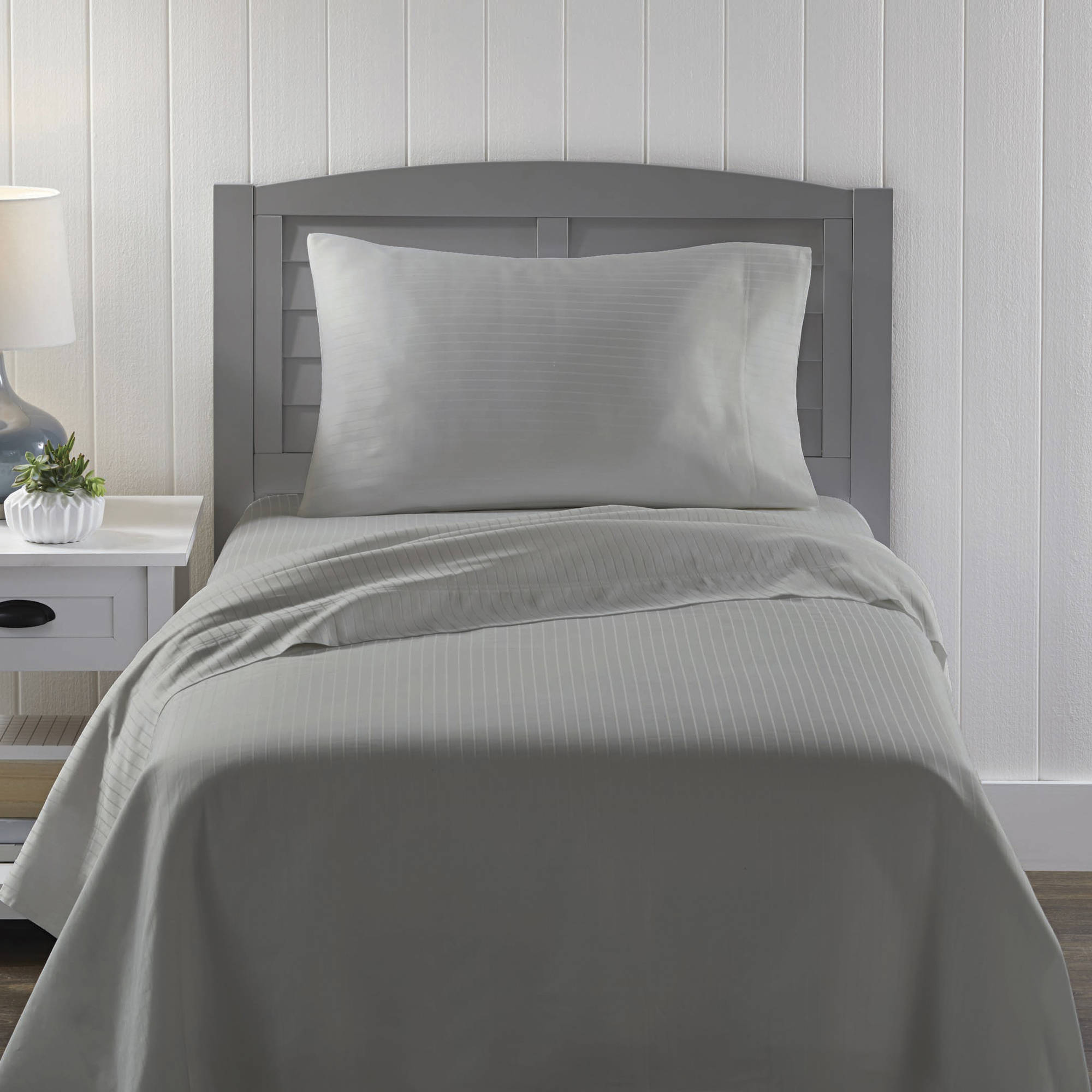Better Homes Gardens Twin 300 Thread Count Damask Stripe Gray Bed Sheet Set 1
