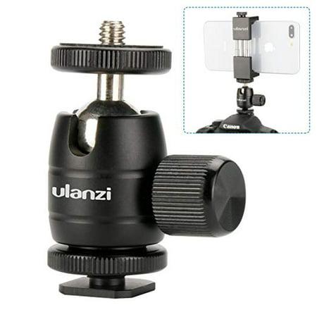 Ulanzi Aluminium 1/4'' Mini BallHead + Hot Shoe Mount Adapter For DSLR Camera like Canon,Nikon,Sony/Camcorder/iPhone 8 7 Plus Gopro Video Light Flash LCD Monitor Tripod Monopod ()