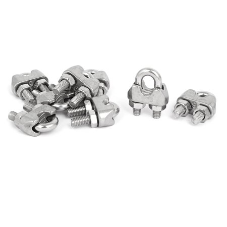 Nm Cable Clamps - M6 1/4 Inch 304 Stainless Steel Saddle Clamps Cable Wire Rope Clips 8PCS