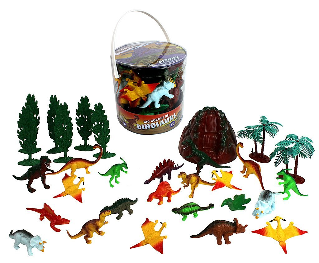 Dinosaur Action Figures Big Bucket of Dinosaurs Huge 30 Piece Set Full of Unique Fun by