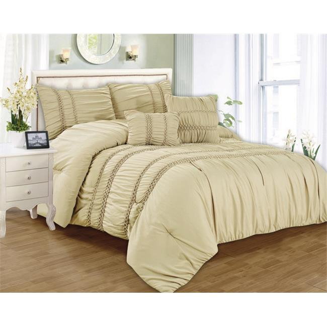Luxury Home Waldorf Smocked Comforter Set, King - Beige - 5 Piece Set
