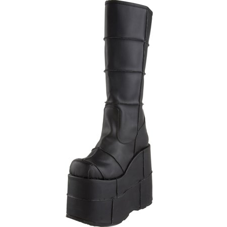17 Inch Knee Boot - 7 Inch Mens Platform Boots Wedge Boots Gothic Knee High Black Pink or White