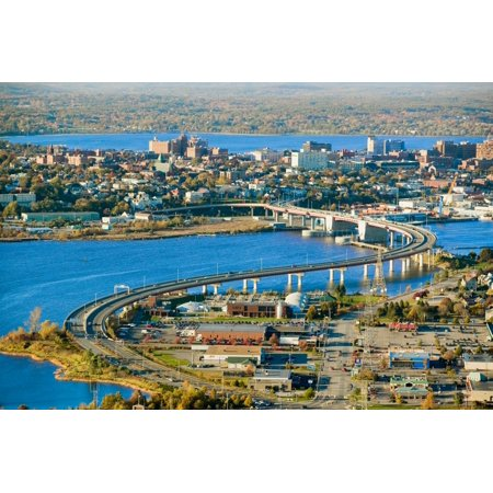 South Bay Shopping Center (Aerial of downtown Portland Maine showing Maine Medical Center Commercial street Old Port Back Bay and the Casco Bay Bridge from South Portland Poster Print by Panoramic Images (36 x)