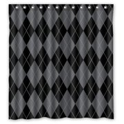 HelloDecor Abstract Argyle Grey and Black Classic Elegant Argyle Texture Shower Curtain Polyester Fabric Bathroom Decorative Curtain Size 66x72 Inches