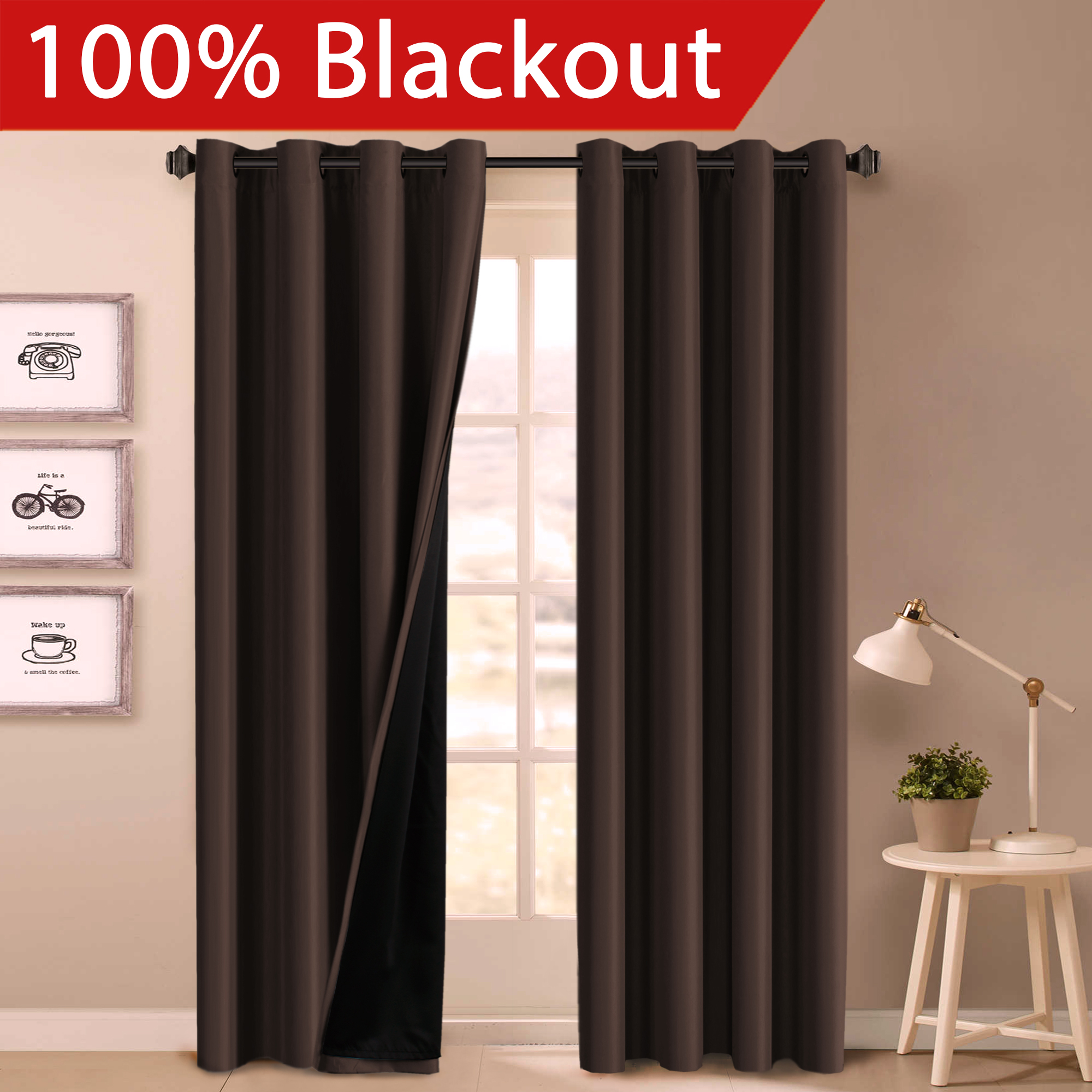 100% BLACKOUT Curtain Set, Thermal Insulated & Energy Efficiency Window Drapery, Lined Silky Performance, Dove Gray Color, Grommet, Set of 2 , W52 x L108