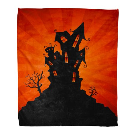 SIDONKU Flannel Throw Blanket Silhouette Black House Haunted Mansion Orange Halloween Clip Clipart Soft for Bed Sofa and Couch 50x60 - Halloween Border Clipart Black And White