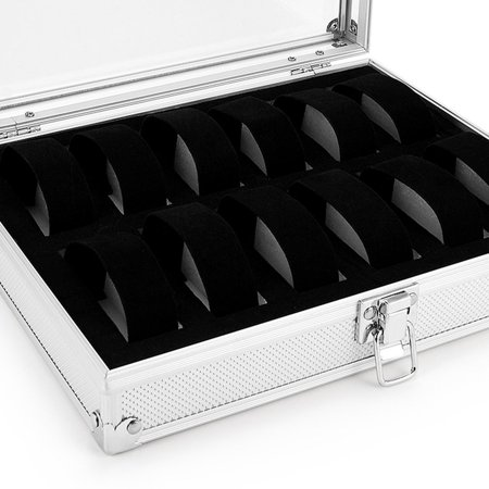 12 Slots Aluminum Alloy Watch Organizer Storage Box Flip Cover Showcase - image 6 of 6