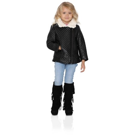 - American Widgeon Quilted Faux Leather and Fur Collar Moto Jacket, Sizes 4-12, Black Leather, Size: 12