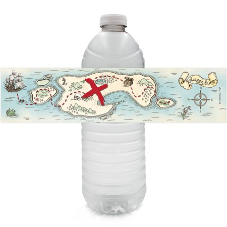 Pirate Party Water Bottle Stickers 24ct | Birthday Favor Decoration Labels - Pirate Themed Birthday Parties